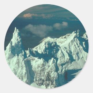 Snow Covered Swiss Alps Classic Round Sticker
