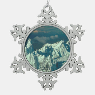 Snow Covered Swiss Alps Snowflake Pewter Christmas Ornament