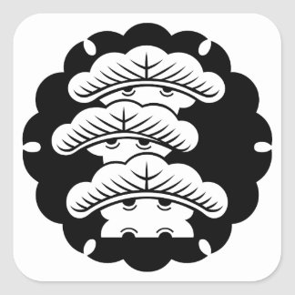 Snow-covered three-tiered pine in rice cake square sticker