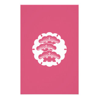 Snow-covered three-tiered pine in rice cake stationery