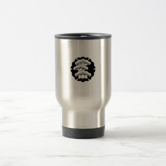 Snow-covered three-tiered pine in rice cake travel mug