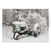 Snow-covered Tractor Card