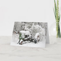 Snow-covered Tractor Holiday Card