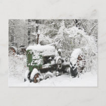 Snow-covered Tractor Holiday Postcard