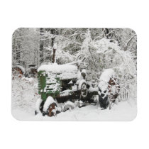 Snow-covered Tractor Magnet