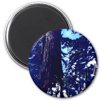 Snow Covered Tree 2 Inch Round Magnet