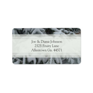 Snow Covered Tree Address Label