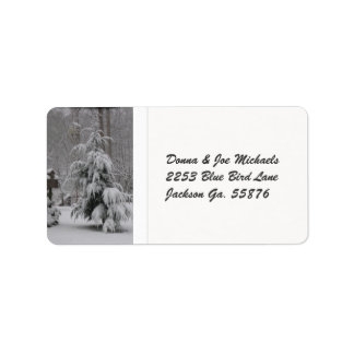 Snow Covered Tree Address Stickers