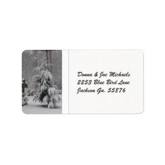 Snow Covered Tree Address Stickers Custom Address Label