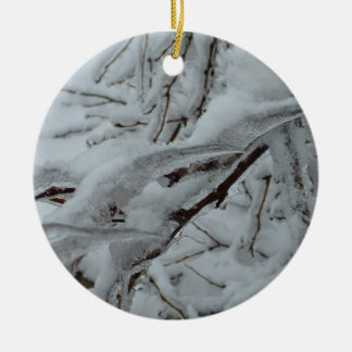 Snow Covered Tree Ceramic Ornament