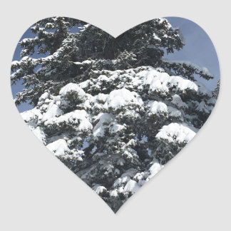Snow Covered Tree Heart Sticker
