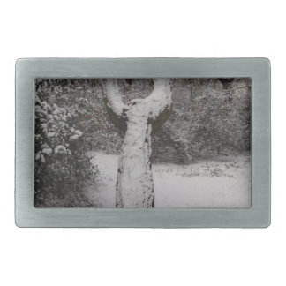 Snow Covered Tree In Epping Forest Rectangular Belt Buckle