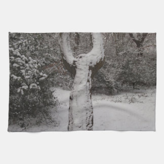 Snow Covered Tree In Epping Forest Hand Towel