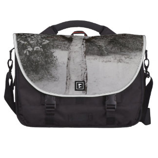 Snow Covered Tree In Epping Forest Laptop Messenger Bag
