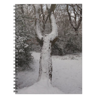 Snow Covered Tree In Epping Forest Spiral Note Books