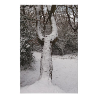 Snow Covered Tree In Epping Forest Custom Stationery