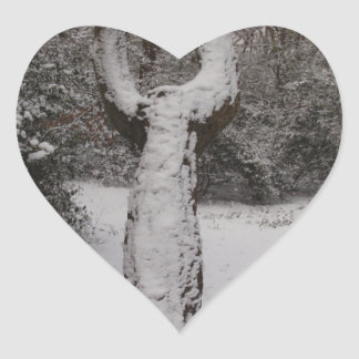 Snow Covered Tree In Epping Forest Heart Stickers