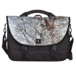 Snow covered tree laptop bag