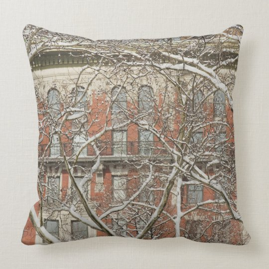 Snow Covered Tree Throw Pillow
