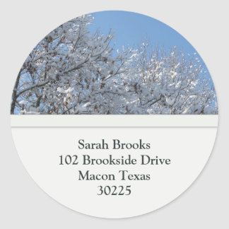 Snow Covered Tree Top Address Labels Classic Round Sticker