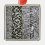 Snow covered tree trunks in Yosemite valley - Metal Ornament