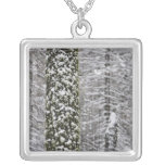 Snow covered tree trunks in Yosemite valley - Silver Plated Necklace