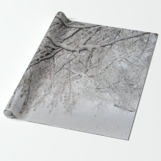 Snow Covered Tree Wrapping Paper - USA