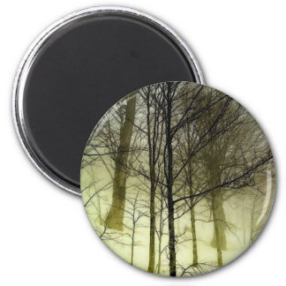 Snow Covered Trees 2 Inch Round Magnet