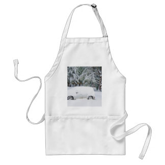 Snow covered trees and cars adult apron