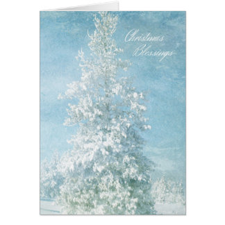 Snow Covered Trees Christmas Blessings Card