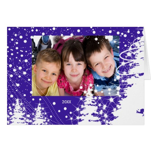 Snow Covered Trees Family Christmas Photo Card