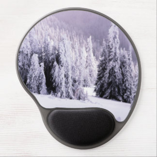 Snow covered trees gel mouse pad
