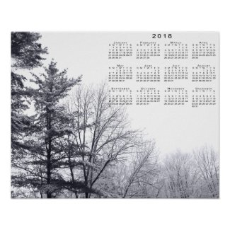 Snow-covered Trees: Horizontal 2018 Calendar Print