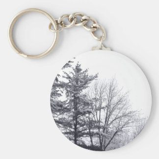 Snow-covered Trees: Horizontal Basic Round Button Keychain
