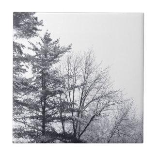 Snow-covered Trees: Horizontal Ceramic Tile