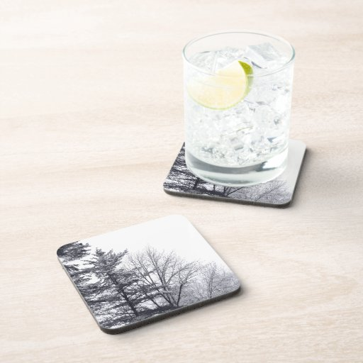 Snow-covered Trees: Horizontal Drink Coaster