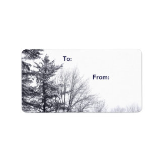 Snow-covered Trees: Horizontal gift tag Label