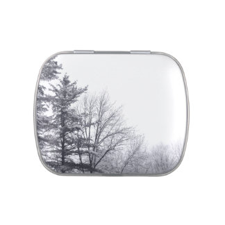 Snow-covered Trees: Horizontal Jelly Belly Candy Tin