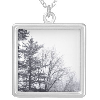Snow-covered Trees: Horizontal Square Pendant Necklace