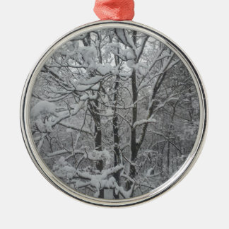 Snow covered trees ornament