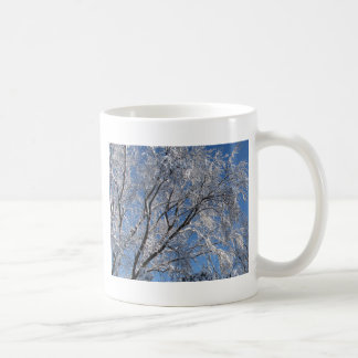 Snow Covered Trees Photograph Square Coffee Mug