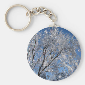 Snow Covered Trees Photograph Square Basic Round Button Keychain
