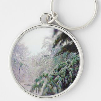 Snow Covered Trees, Pine on KC Street Keychain