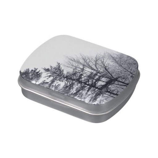 Snow-covered Trees: Vertical Jelly Belly Candy Tin