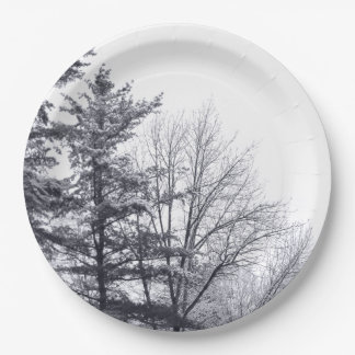 Snow-covered Trees: Vertical Paper Plate