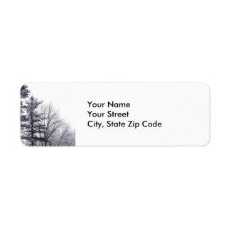 Snow-covered Trees: Vertical return address label