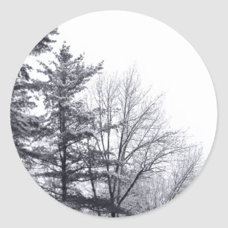 Snow-covered Trees: Vertical Round Stickers
