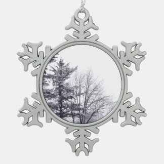 Snow-covered Trees: Vertical Snowflake Pewter Christmas Ornament