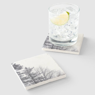 Snow-covered Trees: Vertical Stone Coaster