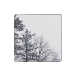 Snow-covered Trees: Vertical Stone Magnet